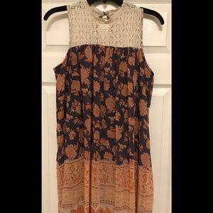 xhilaration boho dress with crochet neck